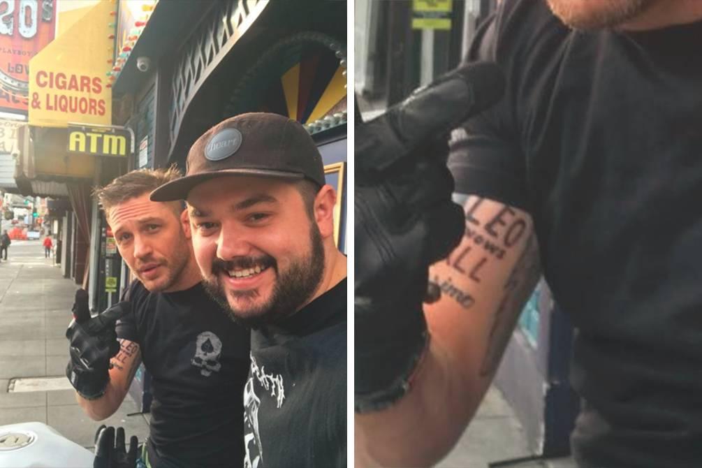 Tom Hardy finalmente exibe tatuagem feita após perder aposta com Leonardo DiCaprio