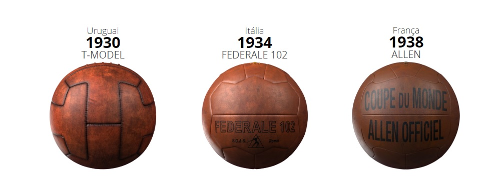 URUGUAI - 1930 - T‑Model  As seleções escolhiam entre duas bolas para jogar  na primeira Copa. A bola acima foi a mais usada 3e9ebdfcd7d64