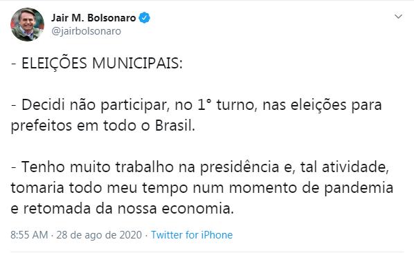 Eleições 2020: Bolsonaro afirma que não apoiará nenhum candidato no 1°  turno - Brasil - Portal O Dia
