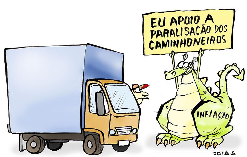 Charge: greve dos caminhoneiros deve aumentar a inflação - Jota A! - Portal  O Dia