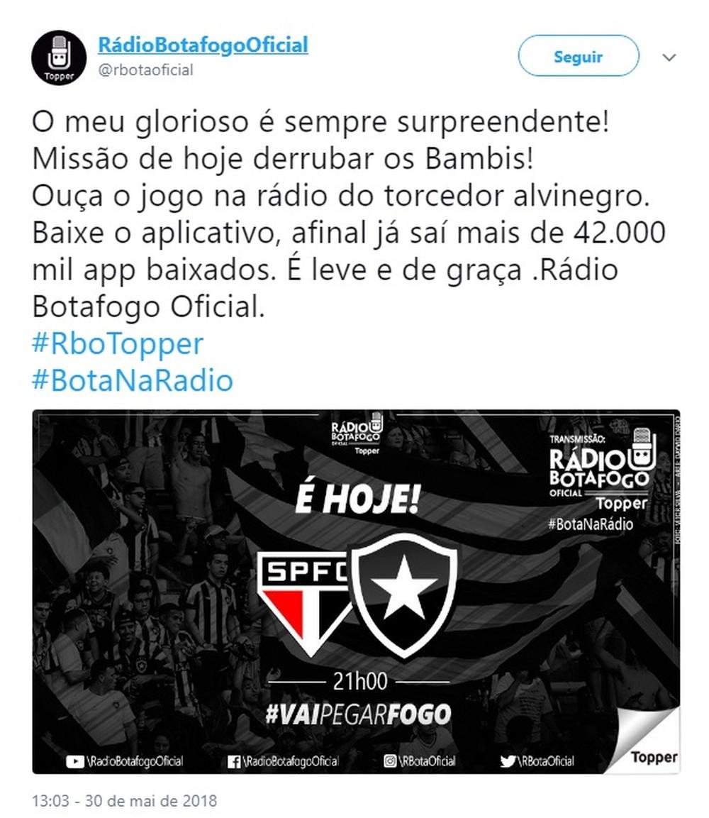 Rádio do Botafogo refere-se a São Paulo como