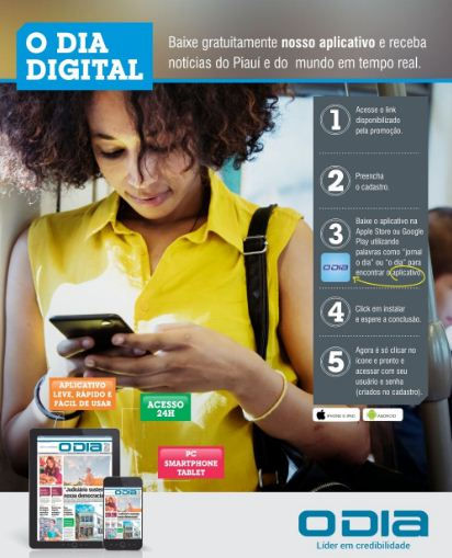 ebba5aff94 O aplicativo do Sistema O Dia está disponível para as versões Android e iOS  na Google Play e no Apple Store