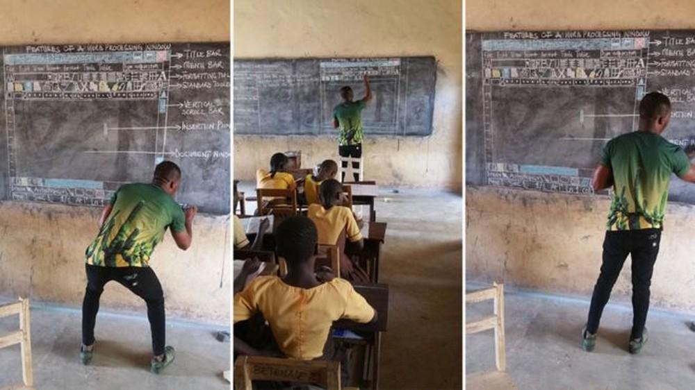 Sem computador, professor africano desenha tela do Word no quadro