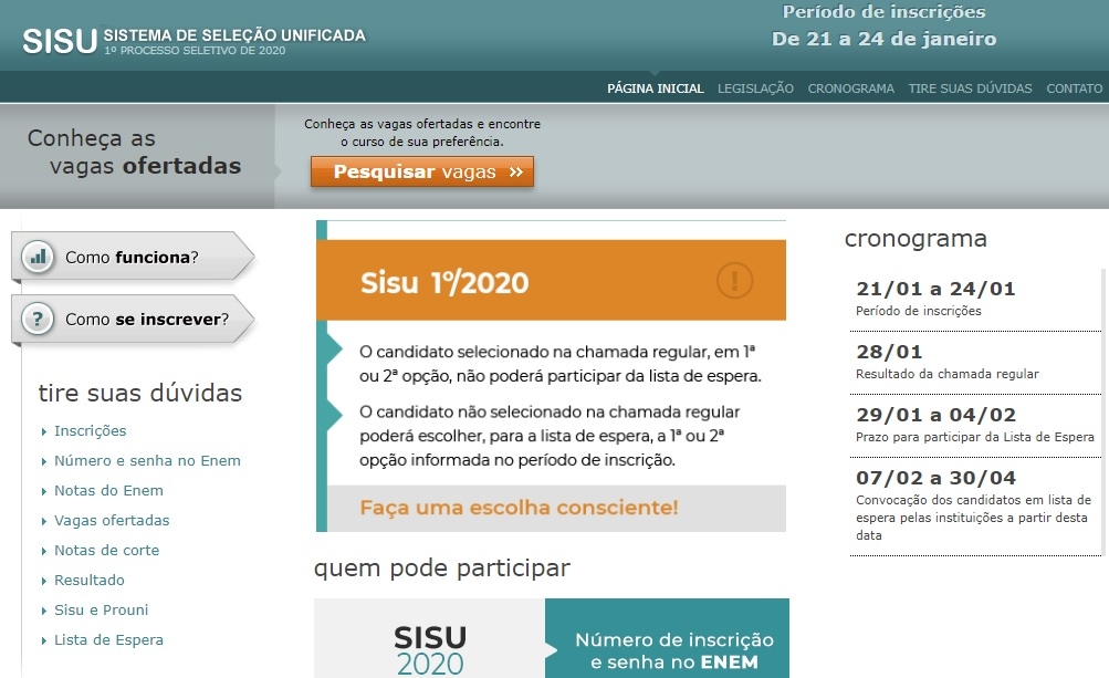Piauí tem mais de 9 mil vagas de cursos para o Sisu 2020 2
