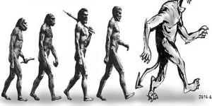 Charge: não há evolução. Parece que o homem está se tornando é desumano