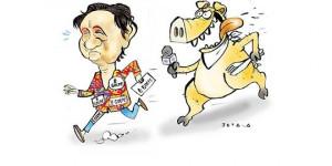 Candidata Lourdes Melo (PCO) enfrenta repórteres, mas corre com medo da Porca