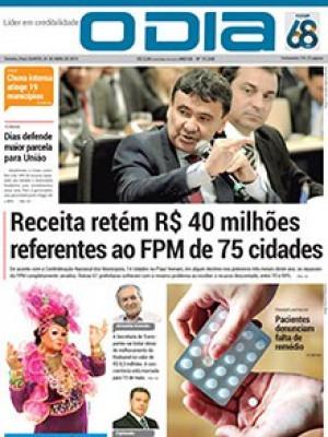 Jornal O Dia - Receita retém R$ 40 milhões referentes ao FPM de 75 cidades