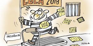 Jota A ironiza a corrida eleitoral do ex-presidente Lula, preso em Curitiba-PR