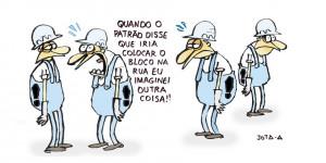 Confira a charge de Jota A publicada na edição desta segunda no Jornal O Dia
