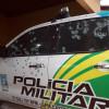 Quadrilha metralha sede da PM de Castelo e tenta roubar cofre do Bradesco