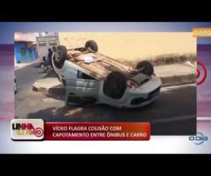 TV O Dia - LINHA DE FOGO 05 12 2019  Vídeo flagra colisão com capotamento entre ônibus e carro