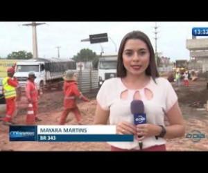 TV O Dia - O DIA NEWS 21 02 20  Obras do viaduto na BR 343 causa transtorno no trânsito